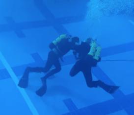 Тренировка подводных бойцов отряда спецназначения Каспийской флотилии
