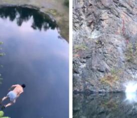Клифф-дайвер прыгнул с 35-метровой скалы