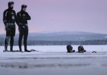 Дайвинг в ледяной воде в Финляндии